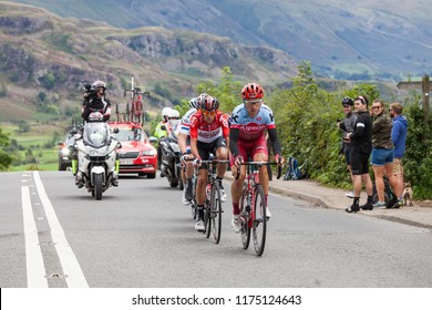 KESWICK, ENGLAND - SEPTEMBER 07:  Cyclists on Stage 6 of the Tour of Britain approach the summit of Chestnut Hill outside Keswick, Cumbria on September 07, 2018.  The race is a free public-event.