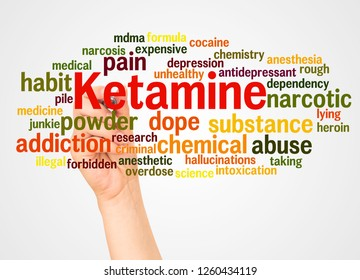 Ketamine word cloud and hand with marker concept on white background.