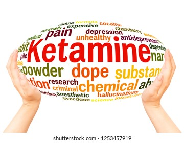Ketamine word cloud hand sphere concept on white background.