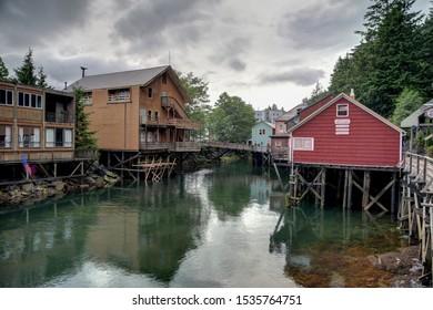 Ketchikan, Alaska - July 10, 2016: Creek Street waterfront village and boardwalk in Ketchikan Alaska