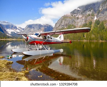 Ketchikan, Alaska--May 10, 2014 A sea plane on an alpine lake near Misty Fjords National Monument. The plane was part of an excursion for an Alaskan cruise.