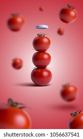 Ketchup bottle concept with tomatoes and vegetables explosion. Red background