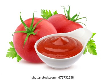 Ketchup in bowl and two fresh tomatoes isolated on white background. Ready for packaging and design