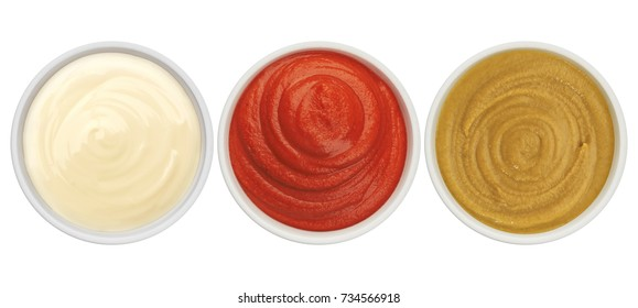 Ketchup, mayonnaise and mustard isolated on white background top view