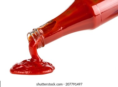 ketchup pouring out of bottle