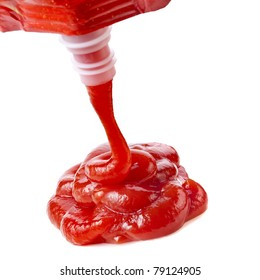 Ketchup, tomato sauce  isolated on white background close up