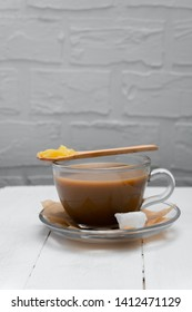 Keto butter coffee recipe with ghee butter and cocnut oil, copy space