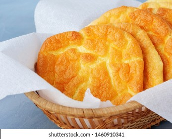 Keto cloud bread also known as oopsie bread. Low-carb, gluten free ketogenic diet oopsie rolls in a basket