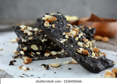 Keto Diet Chocolate Almond Bark - a set of photos showing an entire recipe preparation with the photos of the final dish