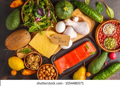 Keto diet concept. Ketogenic diet food. Balanced low-carb food background. Vegetables, fish, meat, cheese, nuts on a dark background.