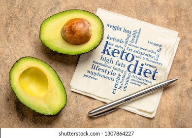keto diet word cloud  - handwriting on napkin with a cut avocado against bark paper