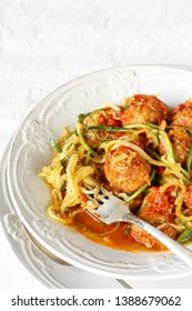 keto dish. Zucchini noodles pasta with meatballs. without carbohydrates, rich in protein
