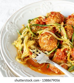 keto dish. Zucchini pasta noodles with meatballs. without carbohydrates, rich in protein .   Zoodles