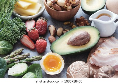 Keto, Ketogenic diet, low carb, healthy food