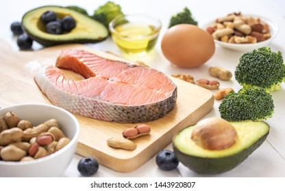 Keto or ketogenic diet on white wooden background, low carb eating with high protein and good fat source