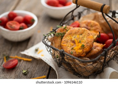 Keto muffins with cheddar cheese and fresh tomatoes