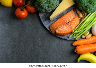Ketogenic diet concept : Background photo of many raw fresh food ingredients for ketogenic diet program with high protein and fat without carbohydrate.