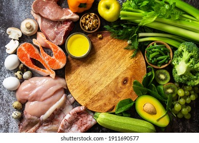 Ketogenic diet concept, ingredients for healthy food. Various balanced useful components healthy low carbohydrate foods. Copy space. Top view flat lay.