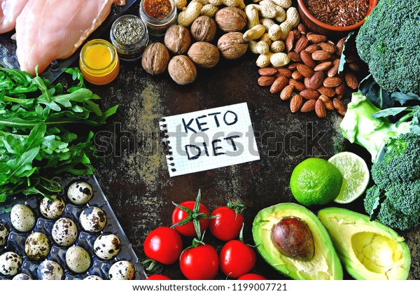 Ketogenic diet concept. A set of products of the low carb keto diet. Green vegetables, nuts, chicken fillet, flax seeds, quail eggs, cherry tomatoes. Healthy food concept. Keto diet food frame.