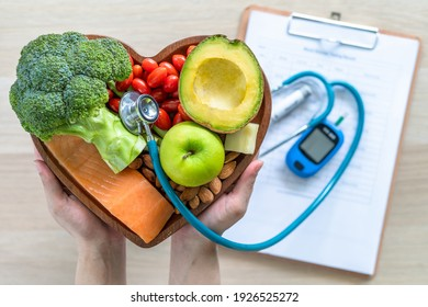 Ketogenic diet with keto food for healthy nutrition eating lifestyle for good heart health with high protein, fat, low-carb to prevent heart disease and diabetes illness control