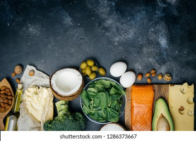 KETOGENIC DIET. Low carbs hight fat products. Healthy eating food, meal plan protein fat. Healthy nutrition. Keto lunch. Ketogenic diet breakfast.