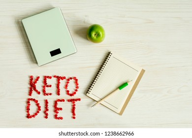 Ketogenic diet notes in the notebook in the office Desk.Concept of Ketogenic diet with chart. flat lay