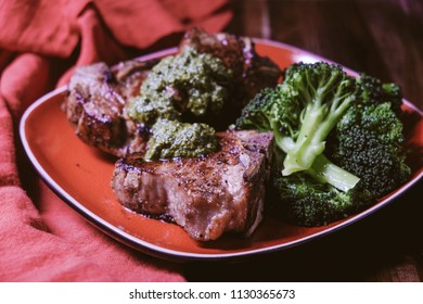 ketogenic lamb chops with vegetables and mint sauce
