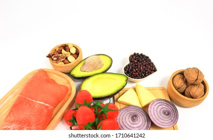 Ketogenic low carbs diet concept on white background,copy space