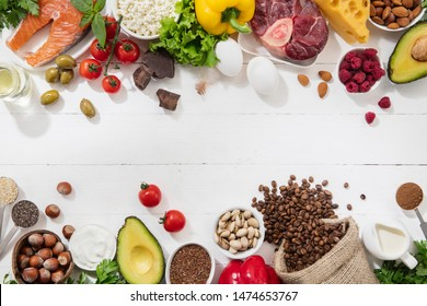 Ketogenic low carbs diet - food selection on white background. Balanced healthy organic ingredients of high content of fats for the heart and blood vessels. Meat, fish and vegetables. Copyspace.