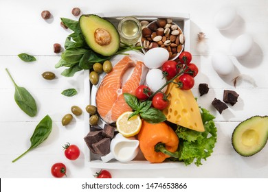 Ketogenic low carbs diet - food selection on white wooden background. Balanced healthy organic ingredients of high content of fats. Nutrition for the heart and blood vessels. Meat, fish and vegetables