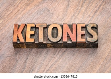 ketones word abstract in vintage letterpress wood type blocks