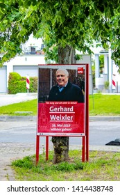 Ketsch, Germany- 28 May 2019: Election campaign poster of German political party SPD Social Democratic Party of Germany promoting the candidate Gerhard Weixler for European Parliament elections