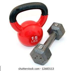Kettle bell, and dumbbell