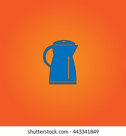 Kettle Blue flat icon with black stroke on orange background.