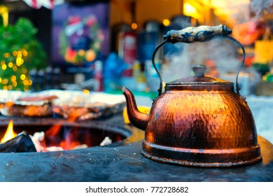 A kettle by the fire at the Christmas Fair