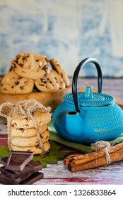 kettle cookies and tea on the table for breakfast
