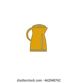 Kettle Flat yellow thin line pictogram on white background. Illustration icon