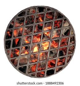 Kettle Grill Grube mit flammender Kohle. Draufsicht auf das BBQ Hot Kettle Grill mit Eisengitter, isolierter Hintergrund, Draufsicht. Grillbar am Grillplatz im Sommer Grillgerichte.