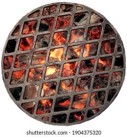 Kettle Grill Grube mit flammender Kohle. Draufsicht auf das Grill-Grill mit Eisengitter einzeln auf weißem Hintergrund, Draufsicht.