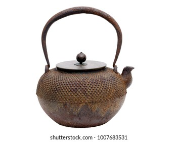 Kettle of japanese style ironware isolated on white background