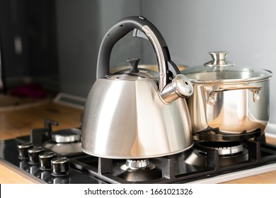 Kettle on a gas stove