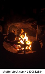 Kettle on open fire during winter