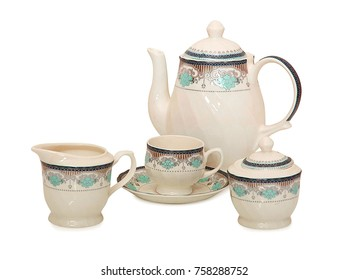 kettle on white background,teacup and dish with Teapot