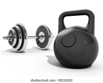 A Kettlebell and Dumbbell
