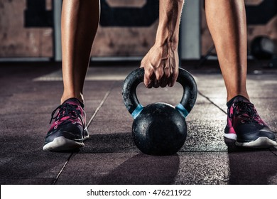 Kettlebell training in gym
