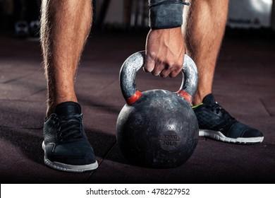 Kettlebell training in gym