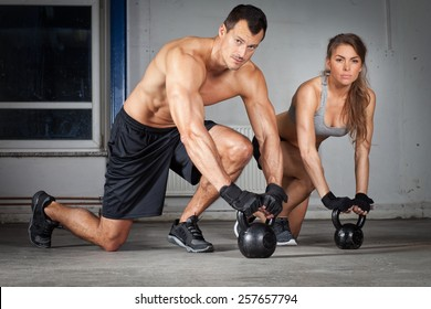 kettlebell training man and woman