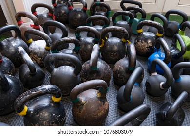 Kettlebells on the floor in the gym for fitness workouts