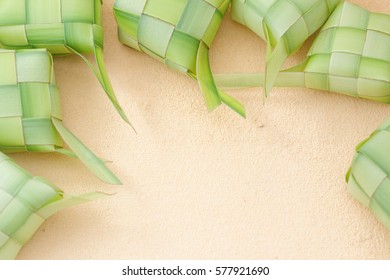 Ketupat is a local delicacy during the festive season in South East Asia. Background and copy space.