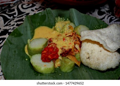Ketupat or Lontong Sayur is an Indonesian specialty made from rice and vegetable curry, served with eggs